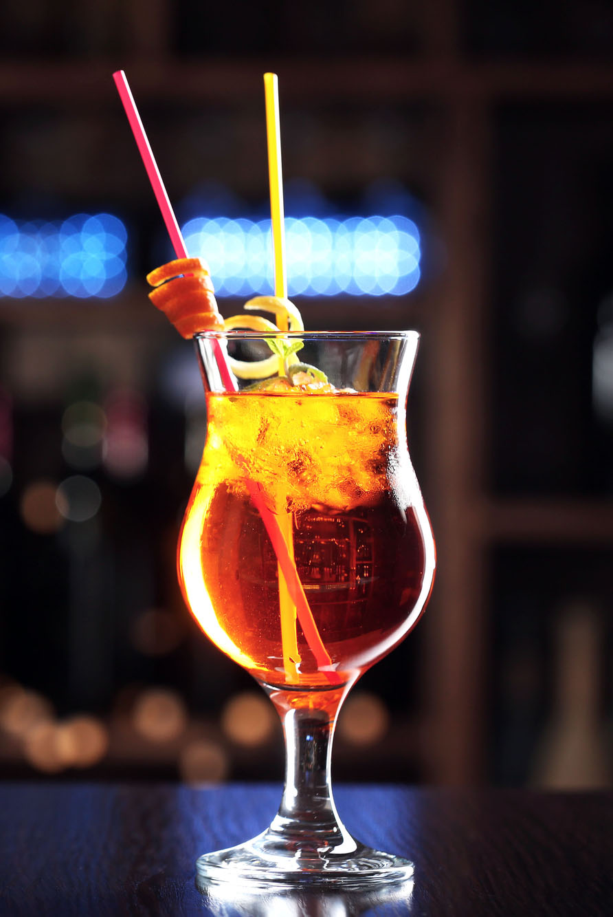 Pop your cherry cocktail in tall glass with straw